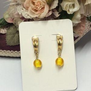 Vintage Yellow Glass bead dangle earrings